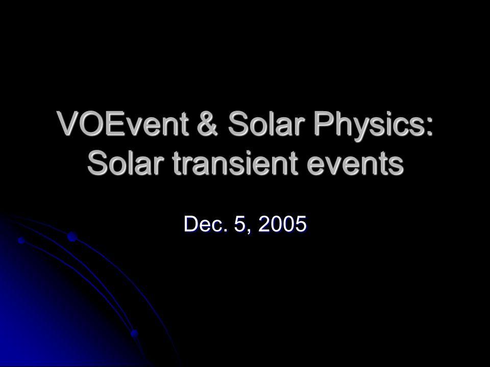VOEvent & Solar Physics: Solar transient events Dec. 5, 2005