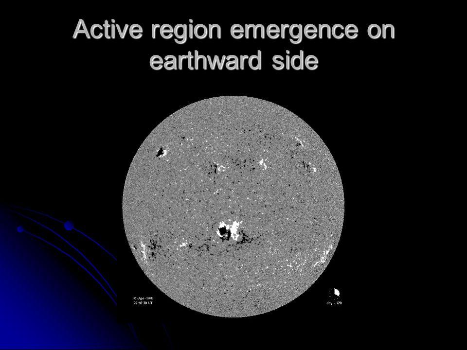 Active region emergence on earthward side