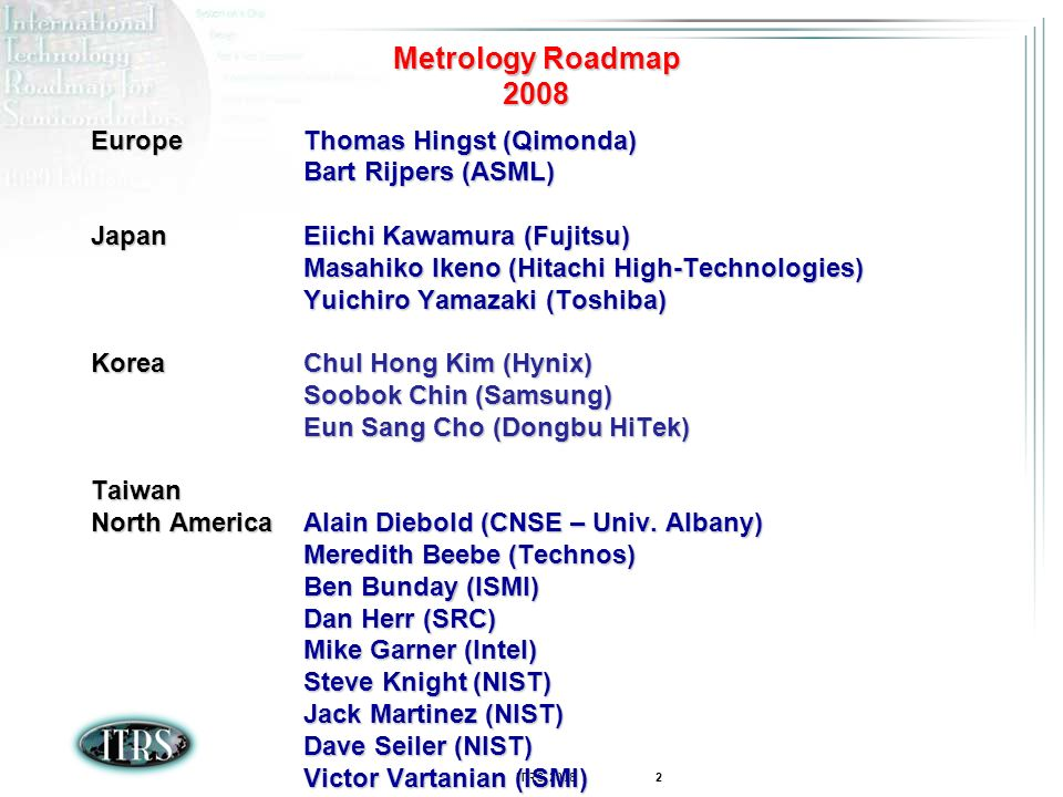 ITRS 2008 3 AGENDA 2008 Changes Lithography Metrology FEP Metrology Interconnect Metrology ERM Metrology Key Messages 2008 Conclusions