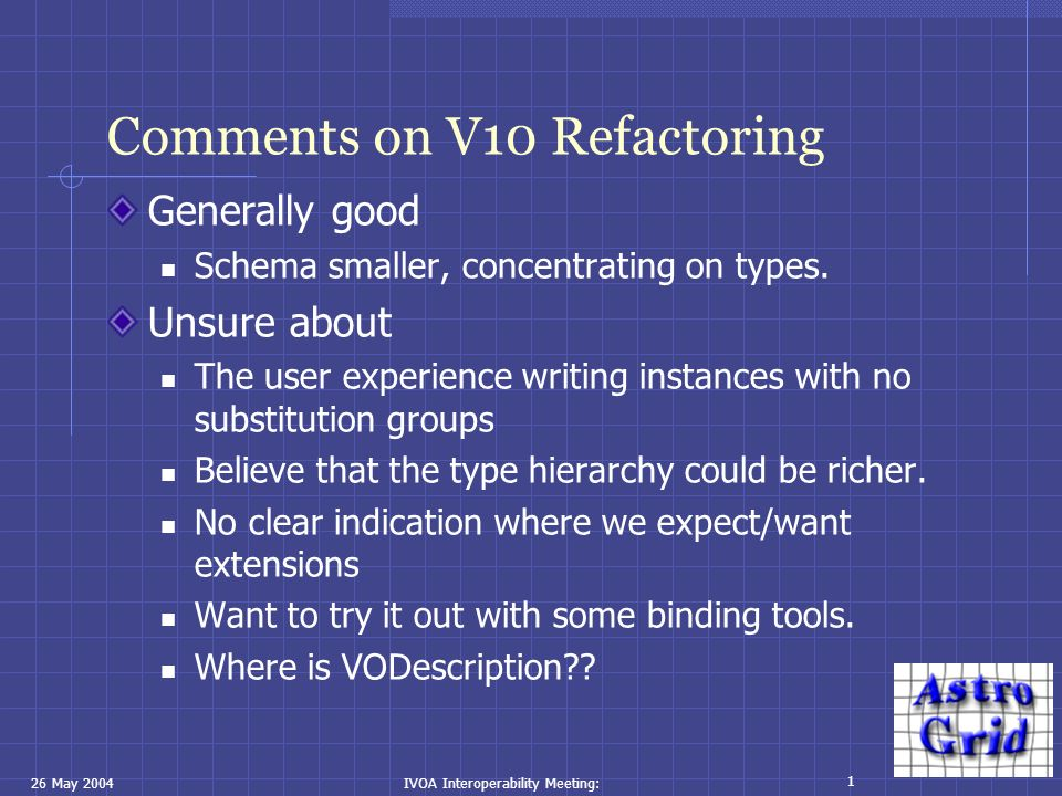 26 May 2004IVOA Interoperability Meeting: 1 Comments on V10 Refactoring Generally good Schema smaller, concentrating on types. Unsure about The user e