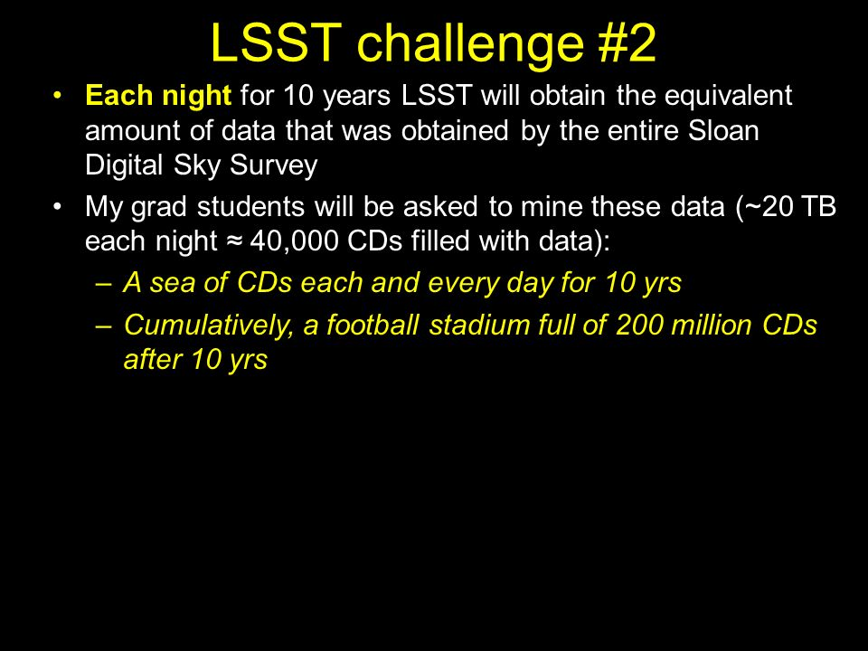 LSST challenge #2 Each night for 10 years LSST will obtain the equivalent amount of data that was obtained by the entire Sloan Digital Sky Survey My grad students will be asked to mine these data (~20 TB each night 40,000 CDs filled with data): –A sea of CDs each and every day for 10 yrs –Cumulatively, a football stadium full of 200 million CDs after 10 yrs