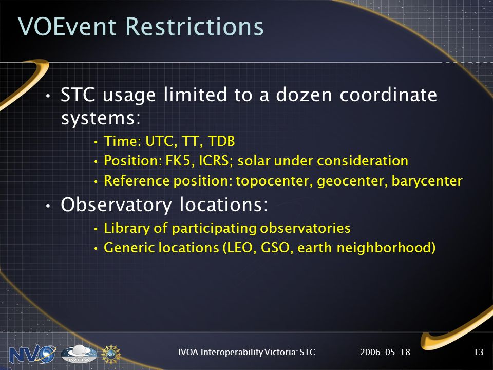 2006-05-18IVOA Interoperability Victoria: STC13 VOEvent Restrictions STC usage limited to a dozen coordinate systems: Time: UTC, TT, TDB Position: FK5