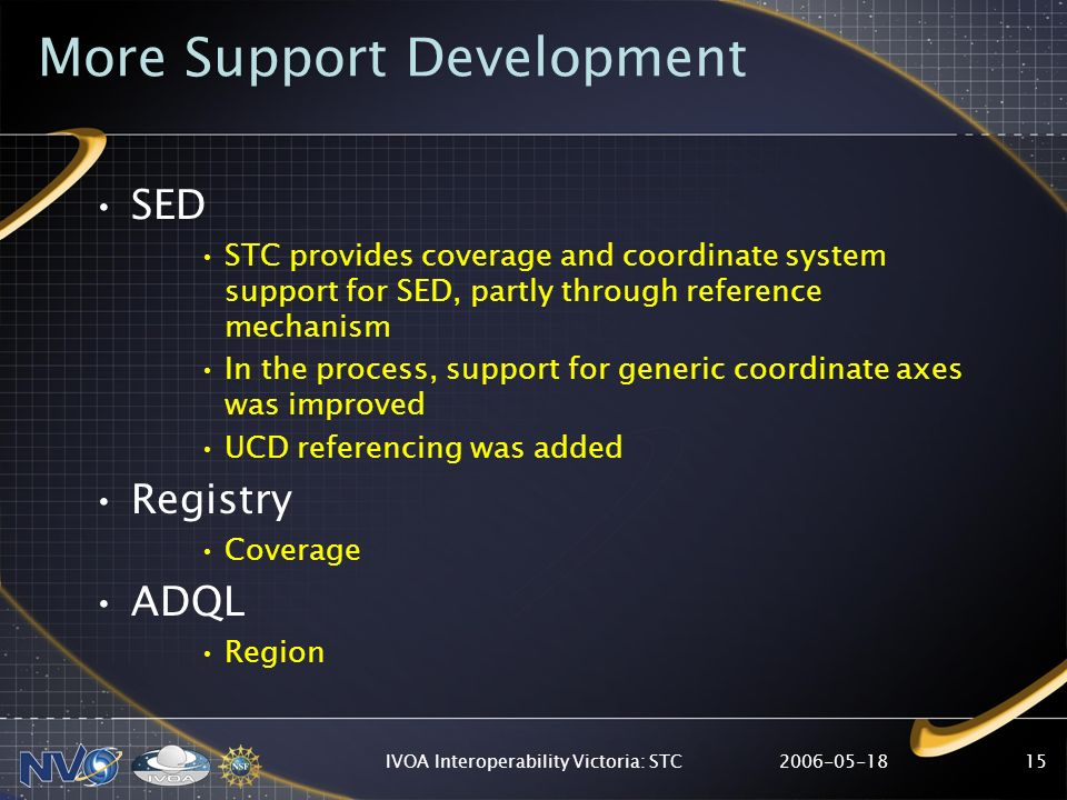 2006-05-18IVOA Interoperability Victoria: STC15 More Support Development SED STC provides coverage and coordinate system support for SED, partly throu