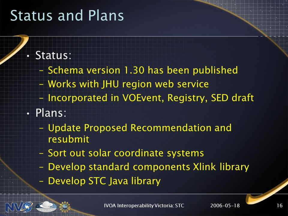IVOA Interoperability Victoria: STC16 Status and Plans Status: –Schema version 1.30 has been published –Works with JHU region web service –Incorporated in VOEvent, Registry, SED draft Plans: –Update Proposed Recommendation and resubmit –Sort out solar coordinate systems –Develop standard components Xlink library –Develop STC Java library