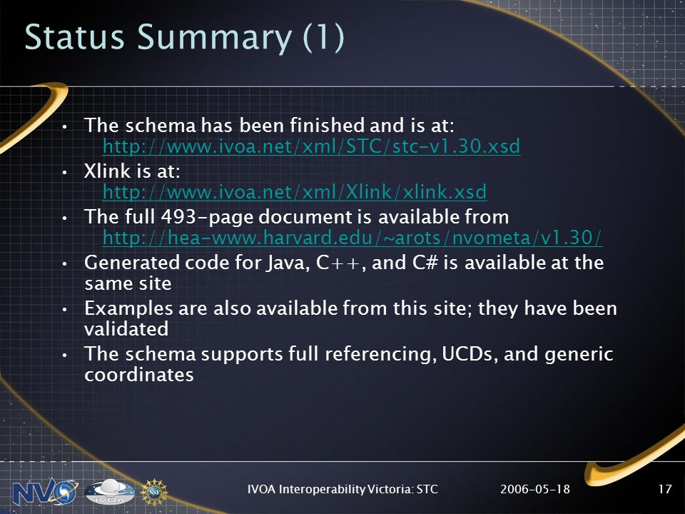 IVOA Interoperability Victoria: STC17 Status Summary (1) The schema has been finished and is at:   Xlink is at:   The full 493-page document is available from   Generated code for Java, C++, and C# is available at the same site Examples are also available from this site; they have been validated The schema supports full referencing, UCDs, and generic coordinates