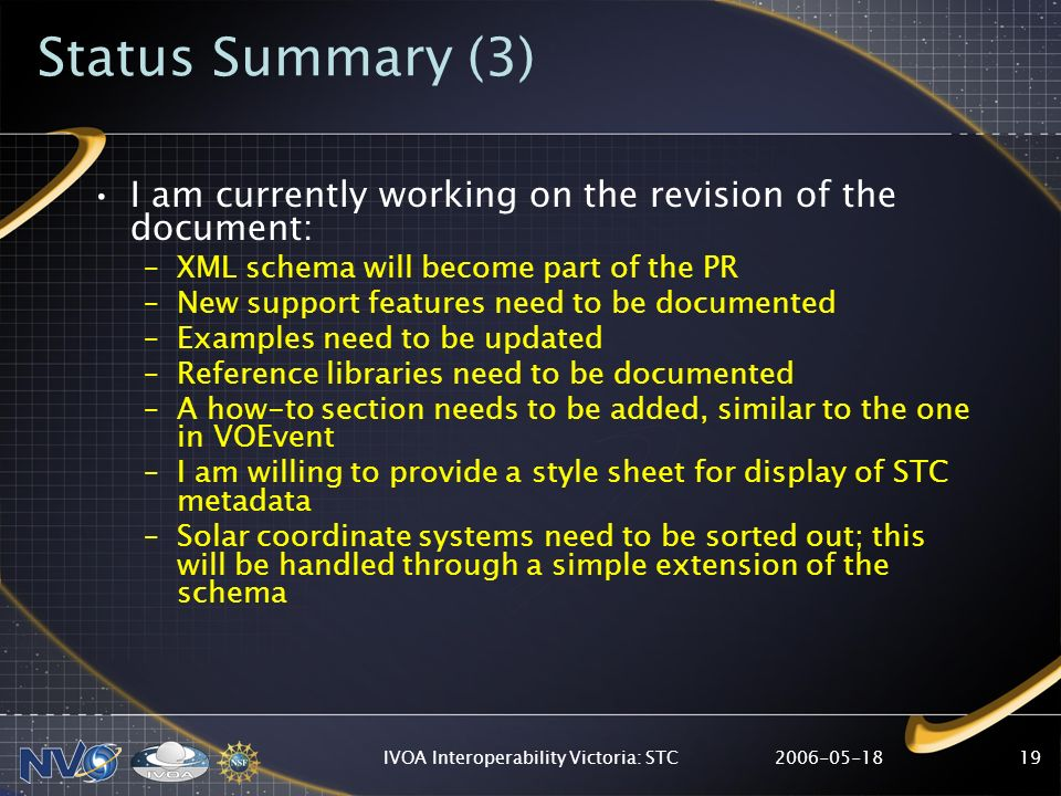 2006-05-18IVOA Interoperability Victoria: STC19 Status Summary (3) I am currently working on the revision of the document: –XML schema will become par