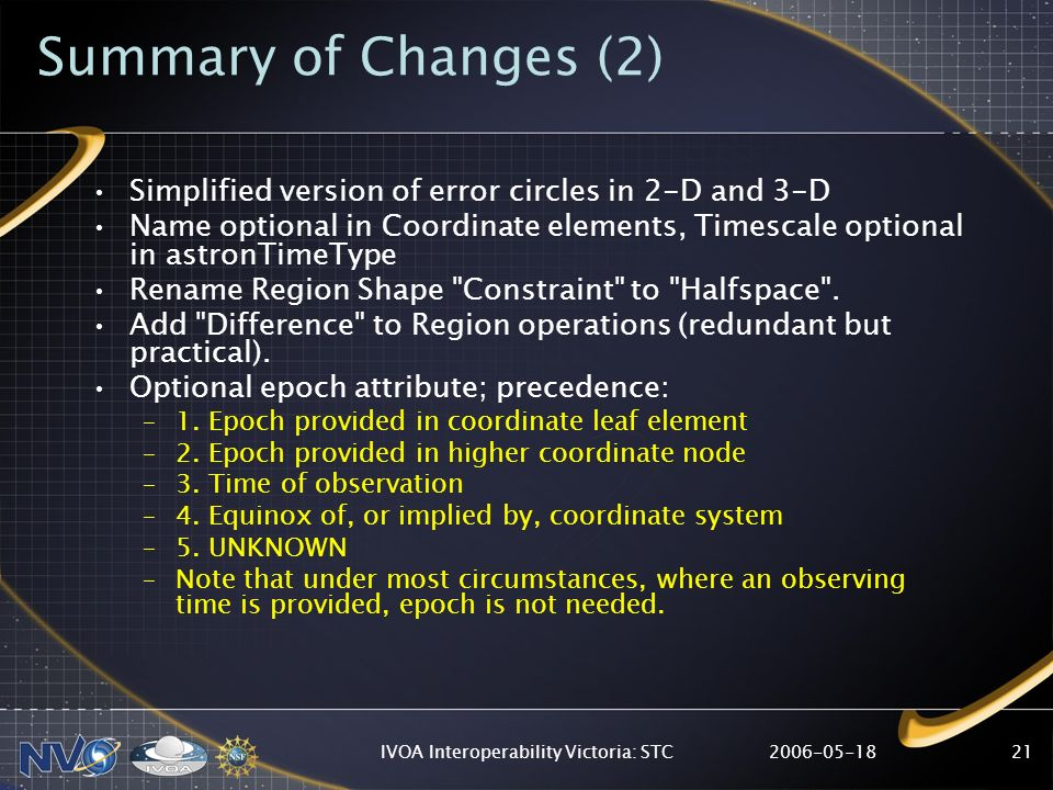 2006-05-18IVOA Interoperability Victoria: STC21 Summary of Changes (2) Simplified version of error circles in 2-D and 3-D Name optional in Coordinate elements, Timescale optional in astronTimeType Rename Region Shape Constraint to Halfspace .
