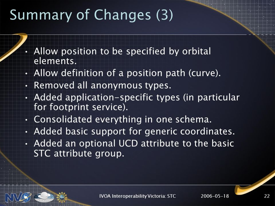 2006-05-18IVOA Interoperability Victoria: STC22 Summary of Changes (3) Allow position to be specified by orbital elements. Allow definition of a posit