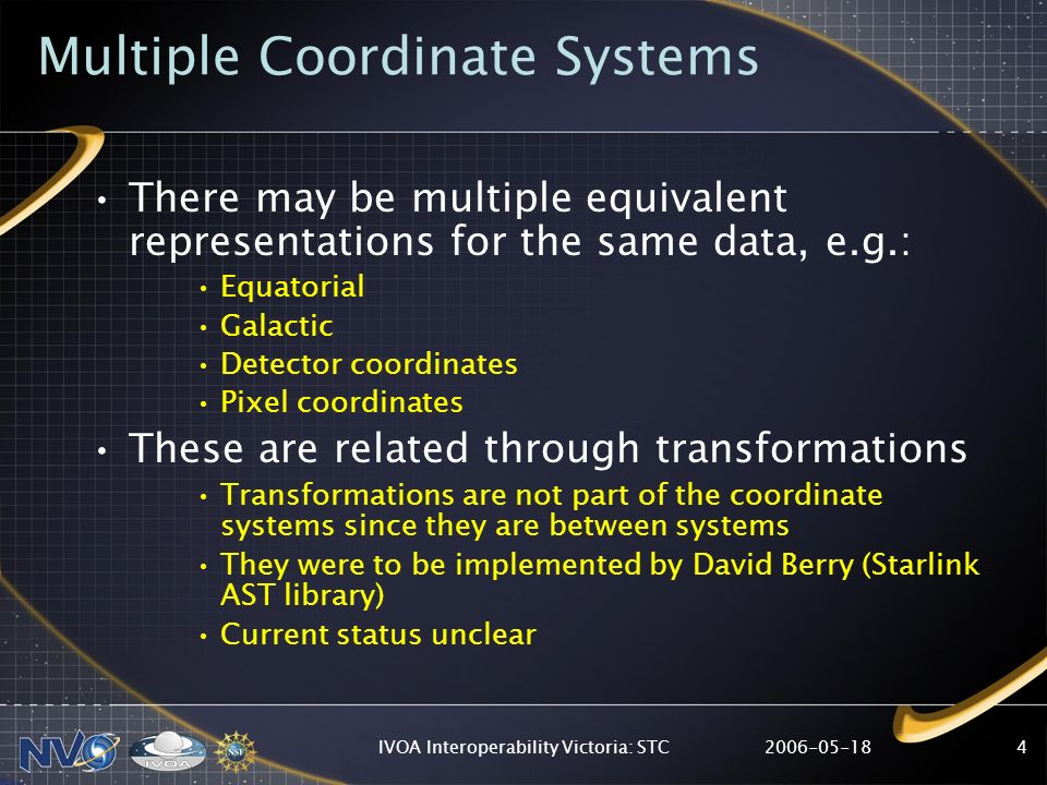 2006-05-18IVOA Interoperability Victoria: STC4 Multiple Coordinate Systems There may be multiple equivalent representations for the same data, e.g.: Equatorial Galactic Detector coordinates Pixel coordinates These are related through transformations Transformations are not part of the coordinate systems since they are between systems They were to be implemented by David Berry (Starlink AST library) Current status unclear