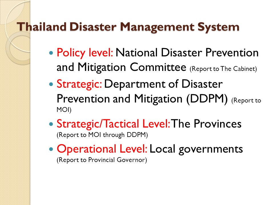 National Plan for Disaster Prevention and Mitigation The National Plan for Disaster Prevention and Mitigation is the very important mechanism for disaster management work in the country.