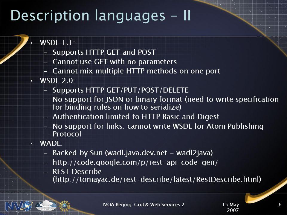 15 May 2007 IVOA Beijing: Grid & Web Services 27 Sample WADL file <application xmlns= http://research.sun.com/wadl/2006/10 xmlns:xsi= http://www.w3.org/2001/XMLSchema-instance xmlns:xsd= http://www.w3.org/2001/XMLSchema xmlns:vot= http://www.ivoa.net/xml/VOTable/v1.1 xsi:schemaLocation= http://research.sun.com/wadl/2006/10 wadl.xsd >