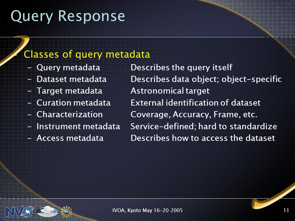 IVOA, Kyoto May 16-20 200511 Query Response Classes of query metadata –Query metadataDescribes the query itself –Dataset metadataDescribes data object; object-specific –Target metadata Astronomical target –Curation metadata External identification of dataset –Characterization Coverage, Accuracy, Frame, etc.