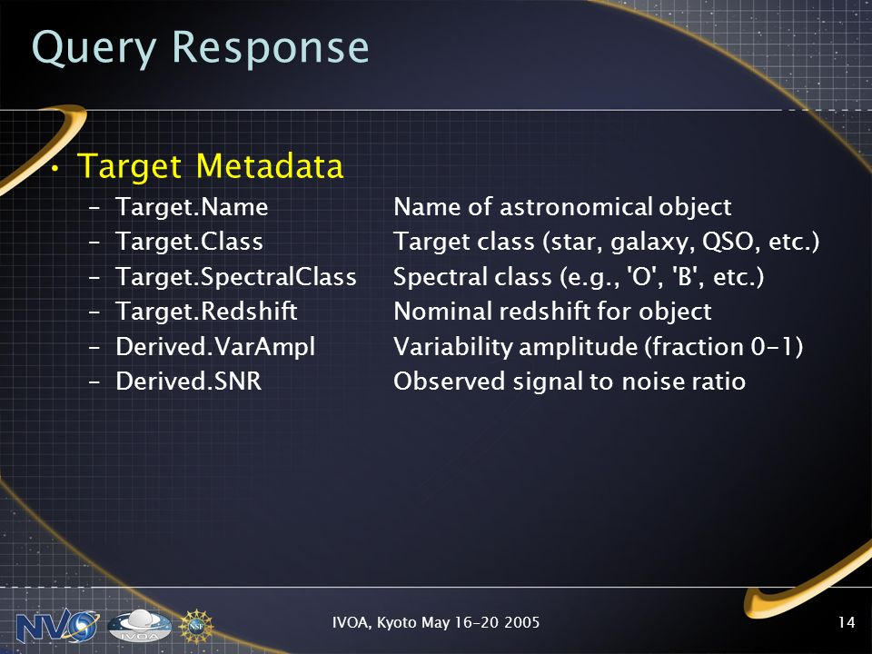 IVOA, Kyoto May 16-20 200514 Query Response Target Metadata –Target.NameName of astronomical object –Target.Class Target class (star, galaxy, QSO, etc.) –Target.SpectralClassSpectral class (e.g., O , B , etc.) –Target.Redshift Nominal redshift for object –Derived.VarAmpl Variability amplitude (fraction 0-1) –Derived.SNR Observed signal to noise ratio