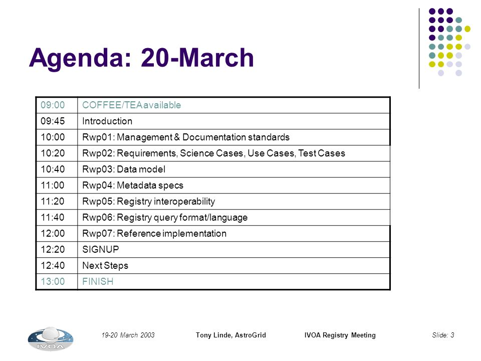 19-20 March 2003Tony Linde, AstroGridIVOA Registry MeetingSlide: 3 Agenda: 20-March 09:00COFFEE/TEA available 09:45Introduction 10:00Rwp01: Management & Documentation standards 10:20Rwp02: Requirements, Science Cases, Use Cases, Test Cases 10:40Rwp03: Data model 11:00Rwp04: Metadata specs 11:20Rwp05: Registry interoperability 11:40Rwp06: Registry query format/language 12:00Rwp07: Reference implementation 12:20SIGNUP 12:40Next Steps 13:00FINISH