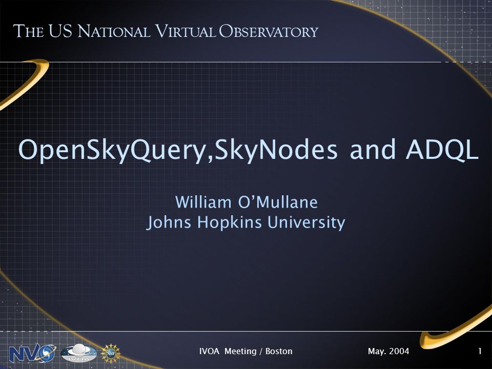 May. 2004IVOA Meeting / Boston1 OpenSkyQuery,SkyNodes and ADQL William OMullane Johns Hopkins University T HE US N ATIONAL V IRTUAL O BSERVATORY