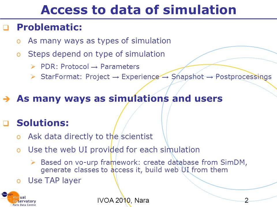 IVOA 2010, Nara2 Access to data of simulation Problematic: o As many ways as types of simulation o Steps depend on type of simulation PDR: Protocol Parameters StarFormat: Project Experience Snapshot Postprocessings As many ways as simulations and users Solutions: o Ask data directly to the scientist o Use the web UI provided for each simulation Based on vo-urp framework: create database from SimDM, generate classes to access it, build web UI from them o Use TAP layer