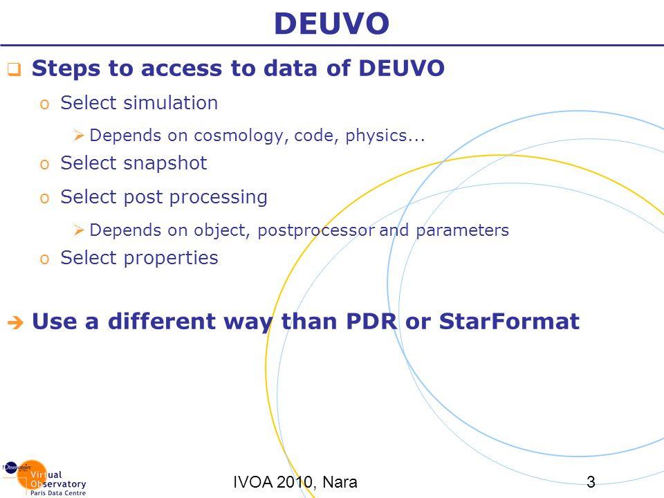 IVOA 2010, Nara3 DEUVO Steps to access to data of DEUVO o Select simulation Depends on cosmology, code, physics... o Select snapshot o Select post pro