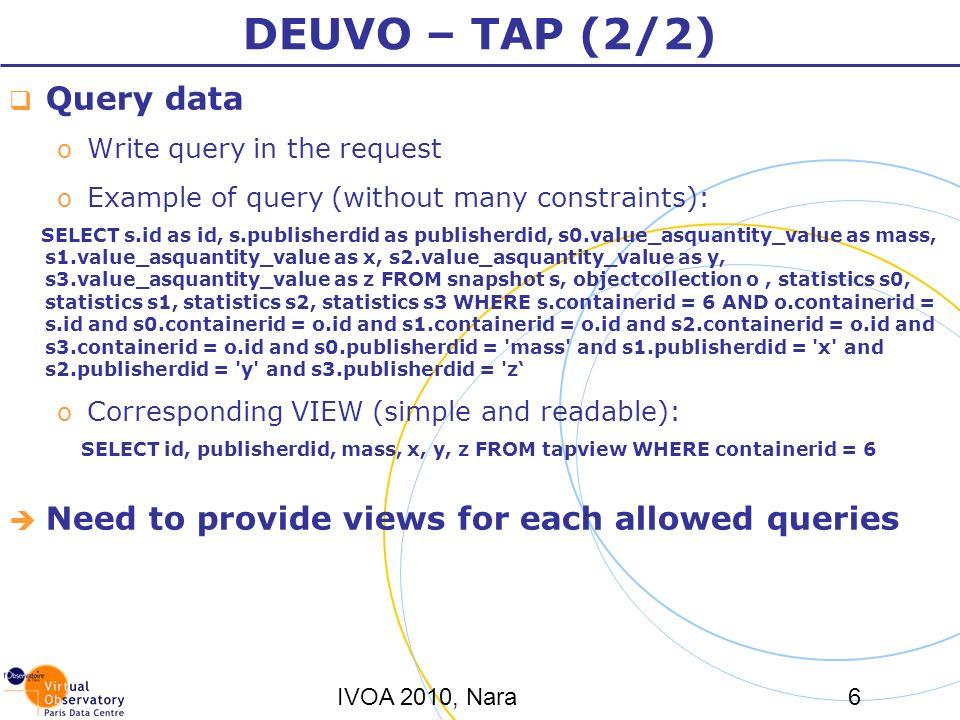 IVOA 2010, Nara6 DEUVO – TAP (2/2) Query data o Write query in the request o Example of query (without many constraints): SELECT s.id as id, s.publisherdid as publisherdid, s0.value_asquantity_value as mass, s1.value_asquantity_value as x, s2.value_asquantity_value as y, s3.value_asquantity_value as z FROM snapshot s, objectcollection o, statistics s0, statistics s1, statistics s2, statistics s3 WHERE s.containerid = 6 AND o.containerid = s.id and s0.containerid = o.id and s1.containerid = o.id and s2.containerid = o.id and s3.containerid = o.id and s0.publisherdid = mass and s1.publisherdid = x and s2.publisherdid = y and s3.publisherdid = z o Corresponding VIEW (simple and readable): SELECT id, publisherdid, mass, x, y, z FROM tapview WHERE containerid = 6 Need to provide views for each allowed queries