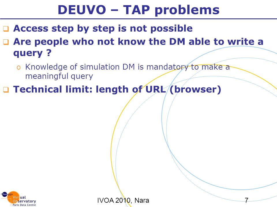 IVOA 2010, Nara7 DEUVO – TAP problems Access step by step is not possible Are people who not know the DM able to write a query ? o Knowledge of simula