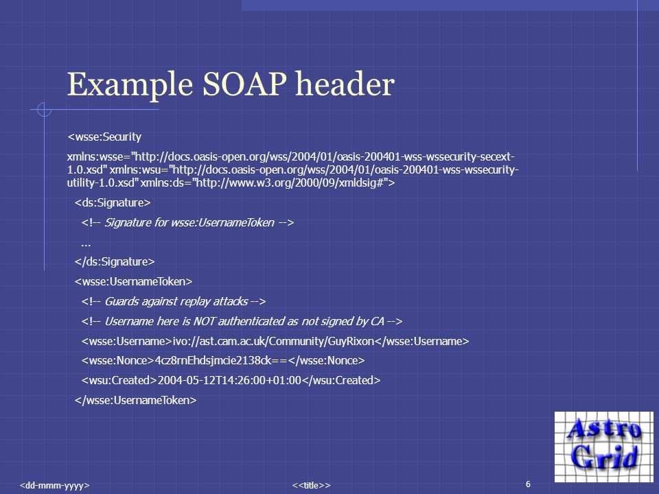 6 > Example SOAP header <wsse:Security xmlns:wsse= xsd xmlns:wsu=   utility-1.0.xsd xmlns:ds=   >...
