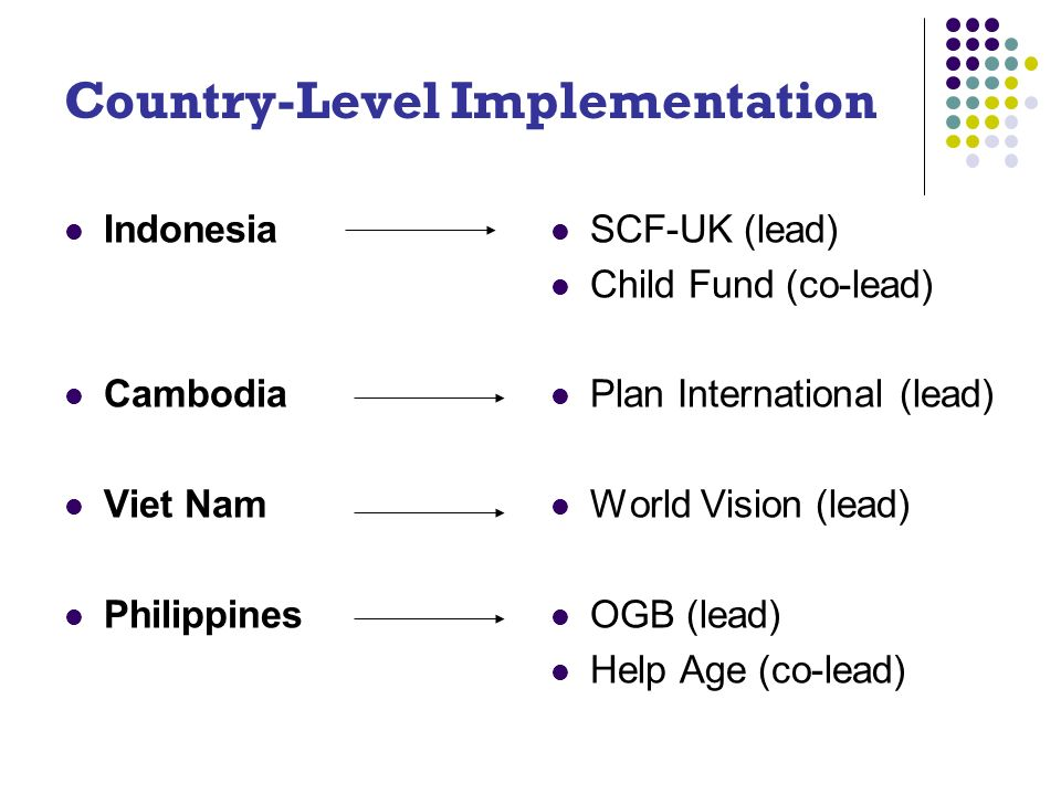 Country-Level Implementation Indonesia Cambodia Viet Nam Philippines SCF-UK (lead) Child Fund (co-lead) Plan International (lead) World Vision (lead) OGB (lead) Help Age (co-lead)