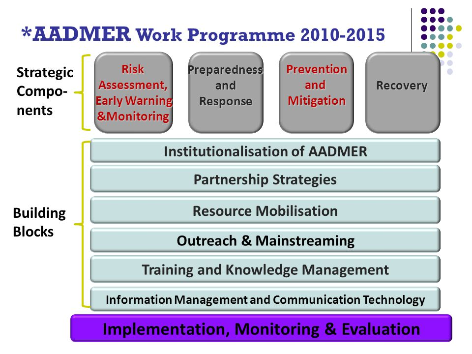 RiskAssessment, Early Warning &Monitoring PreventionandMitigation PreparednessandResponseRecovery Partnership Strategies Training and Knowledge Management Information Management and Communication Technology Outreach & Mainstreaming Institutionalisation of AADMER Implementation, Monitoring & Evaluation Strategic Compo- nents Building Blocks Resource Mobilisation *AADMER Work Programme