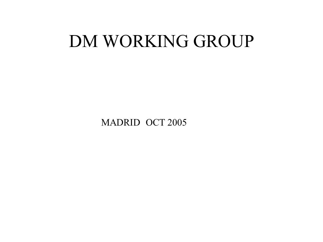 DM WORKING GROUP MADRID OCT 2005