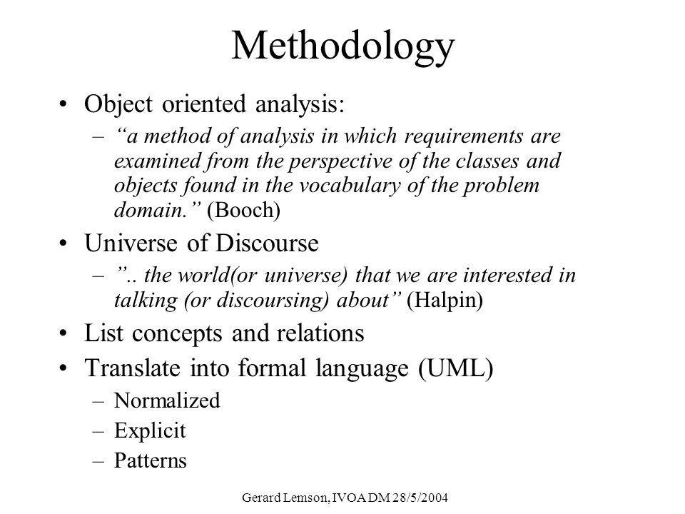 Methodology Object oriented analysis: –a method of analysis in which requirements are examined from the perspective of the classes and objects found in the vocabulary of the problem domain.