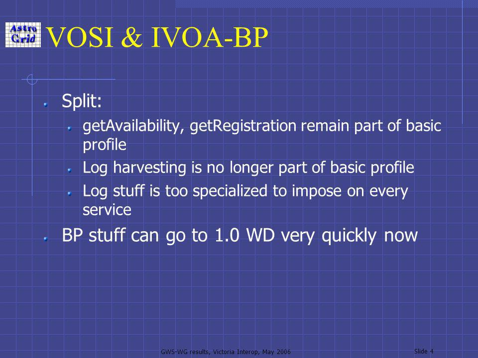 GWS-WG results, Victoria Interop, May 2006 Slide 4 VOSI & IVOA-BP Split: getAvailability, getRegistration remain part of basic profile Log harvesting is no longer part of basic profile Log stuff is too specialized to impose on every service BP stuff can go to 1.0 WD very quickly now