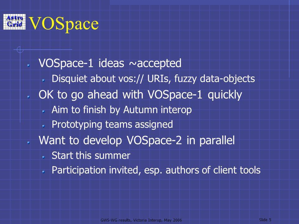 GWS-WG results, Victoria Interop, May 2006 Slide 6 Road-map See http://www.ivoa.net/twiki/bin/view/IVOA/Ivoa GridAndWebServices#road-map http://www.ivoa.net/twiki/bin/view/IVOA/Ivoa GridAndWebServices#road-map