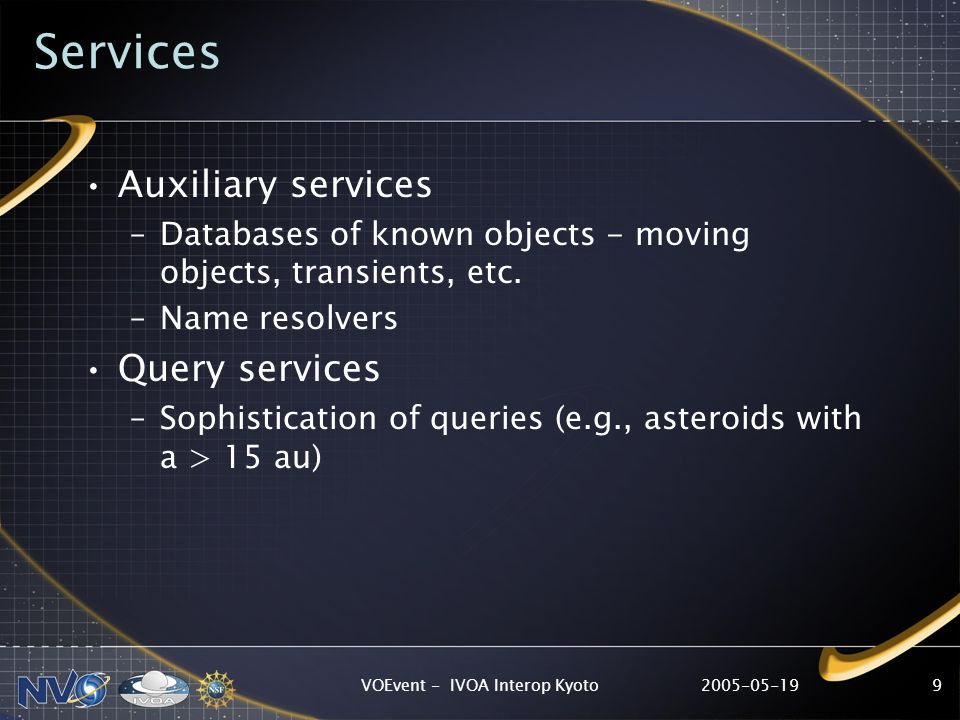 2005-05-19VOEvent - IVOA Interop Kyoto9 Services Auxiliary services –Databases of known objects - moving objects, transients, etc.