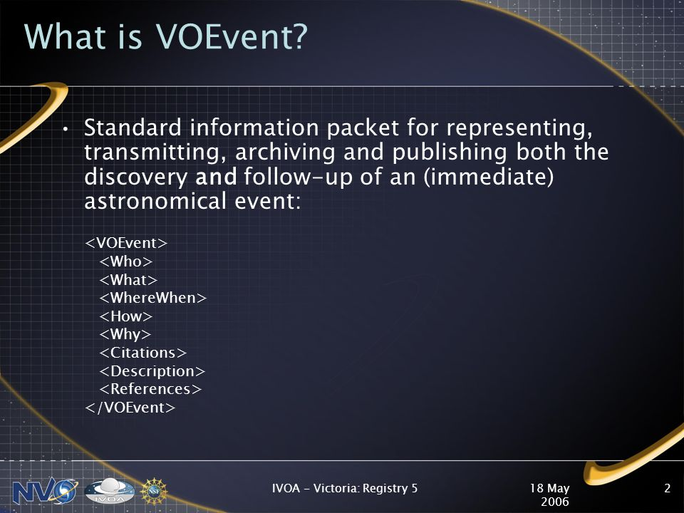 18 May 2006 IVOA - Victoria: Registry 52 What is VOEvent.