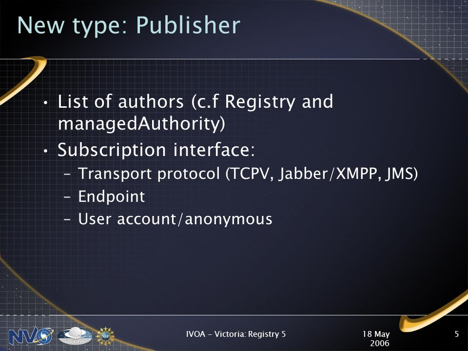 18 May 2006 IVOA - Victoria: Registry 55 New type: Publisher List of authors (c.f Registry and managedAuthority) Subscription interface: –Transport protocol (TCPV, Jabber/XMPP, JMS) –Endpoint –User account/anonymous