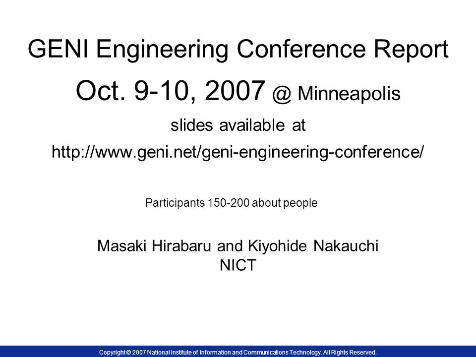 GENI Engineering Conference Report Oct.