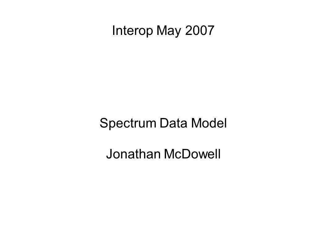 Interop May 2007 Spectrum Data Model Jonathan McDowell