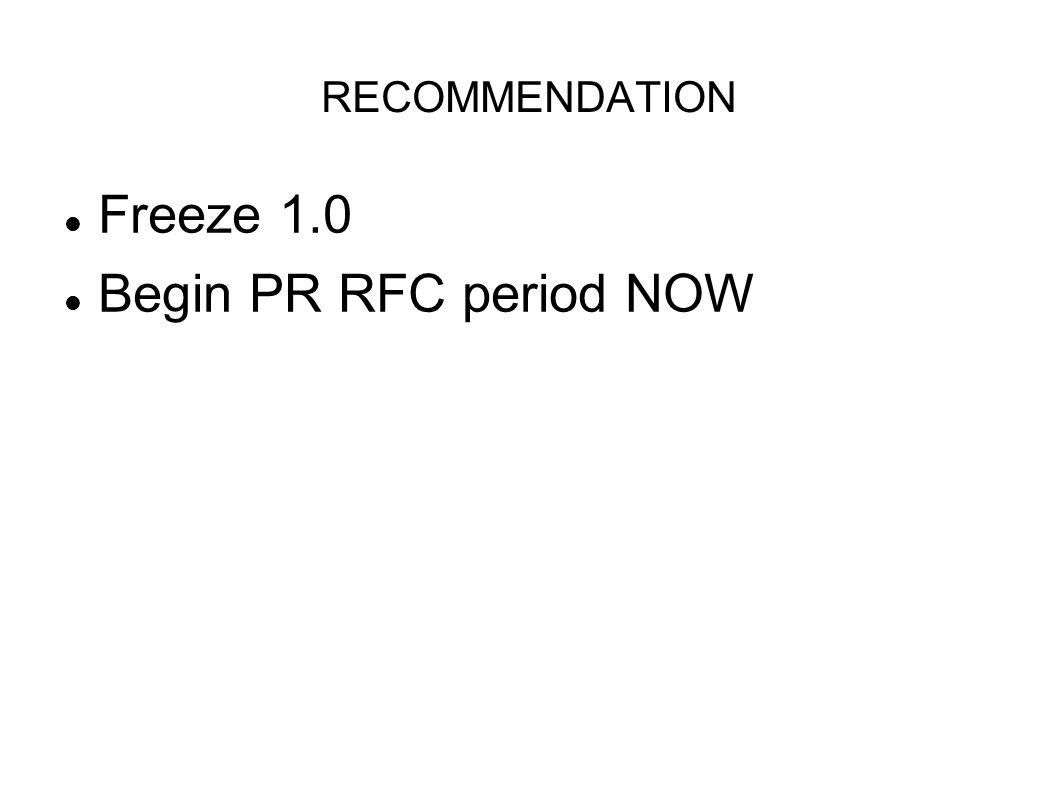 RECOMMENDATION Freeze 1.0 Begin PR RFC period NOW