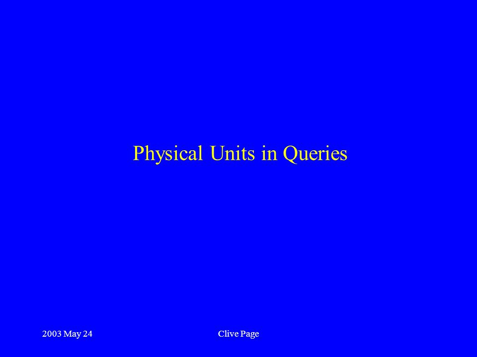 2003 May 24Clive Page Physical Units in Queries