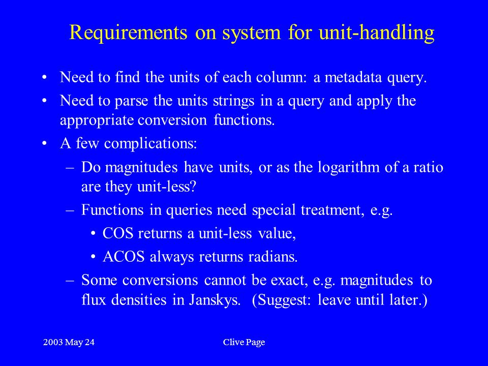 2003 May 24Clive Page Requirements on system for unit-handling Need to find the units of each column: a metadata query.