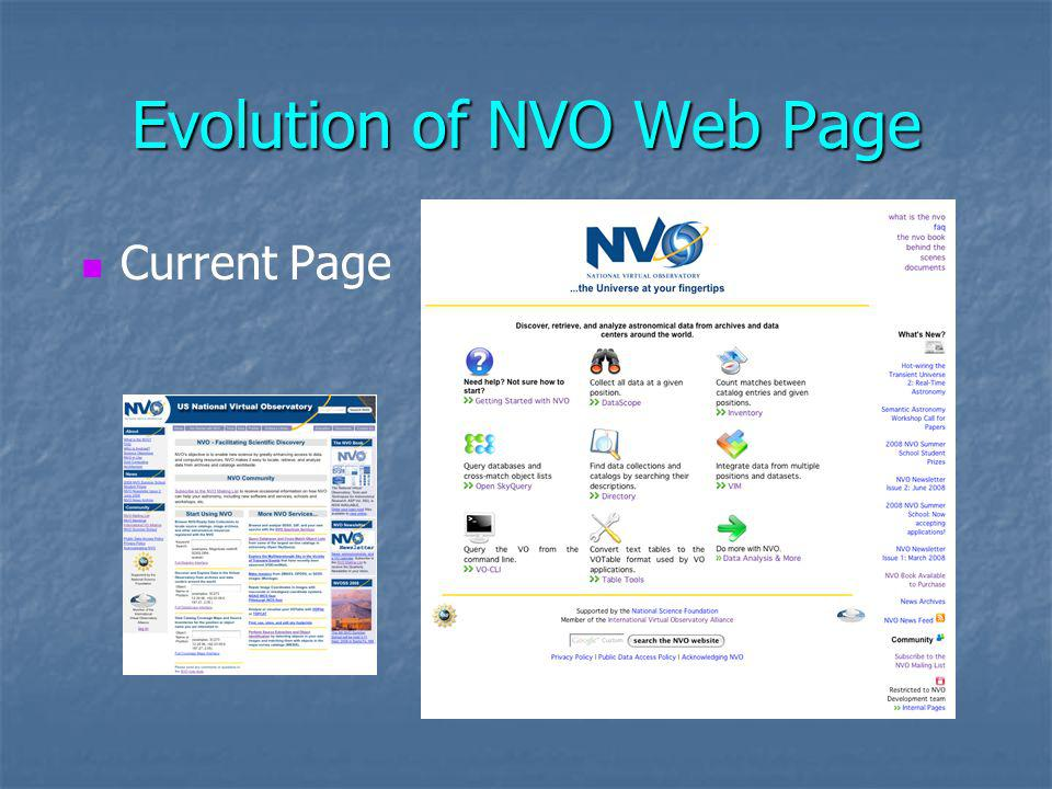 Evolution of NVO Web Page Current Page