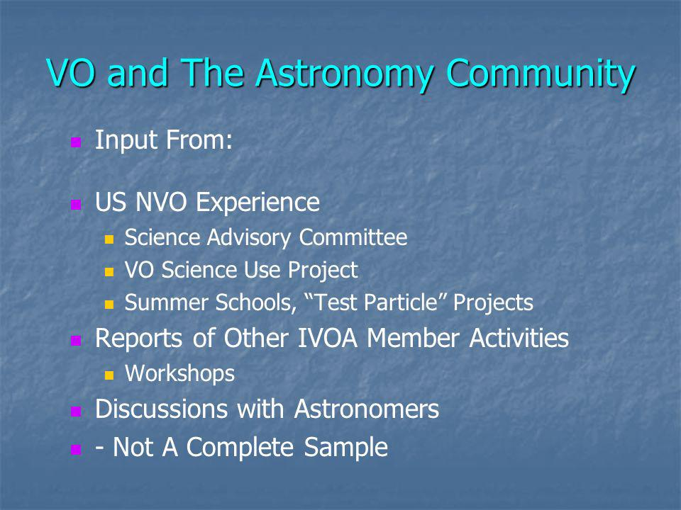 Conclusions Interaction with the Astronomy Community is Still a Critical Issue Sociological Changes in Astronomy – ~ Experimental HEP Long Time Scale Does Not Remove the Problem IVOA Can Make Essential Contributions
