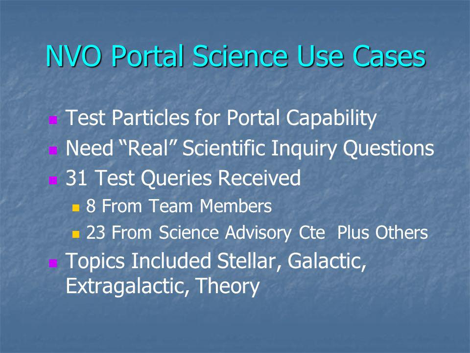Portal Science Use Cases Ranking of Queries – Not Ranked on Science A: Simple, Well Defined, Portal Should Do Very Easily B: MultiStep Inquiries; Otherwise Well Defined C: MultiStep, Some Parts Not Well Defined D: Not Well Defined; Need More Information F: Not Applicable A/D: Not Well Defined; Easily Fixed