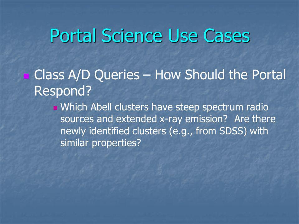 Portal Science Use Cases Class A/D Queries – How Should the Portal Respond.