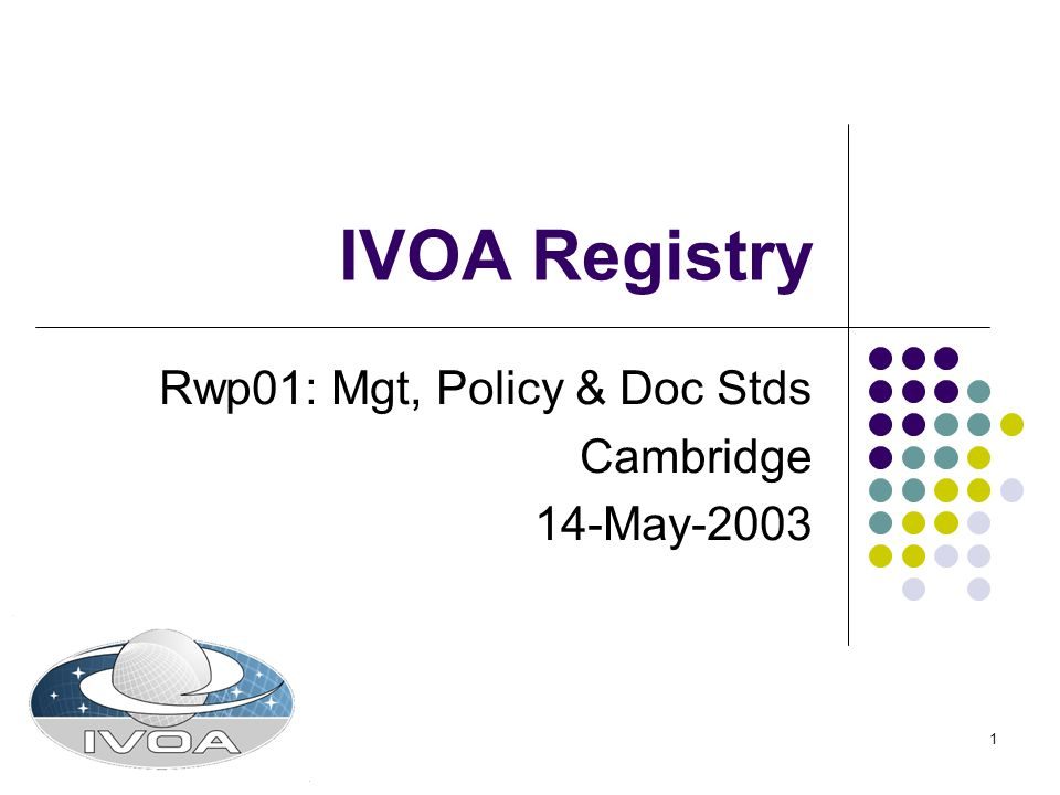 1 IVOA Registry Rwp01: Mgt, Policy & Doc Stds Cambridge 14-May-2003