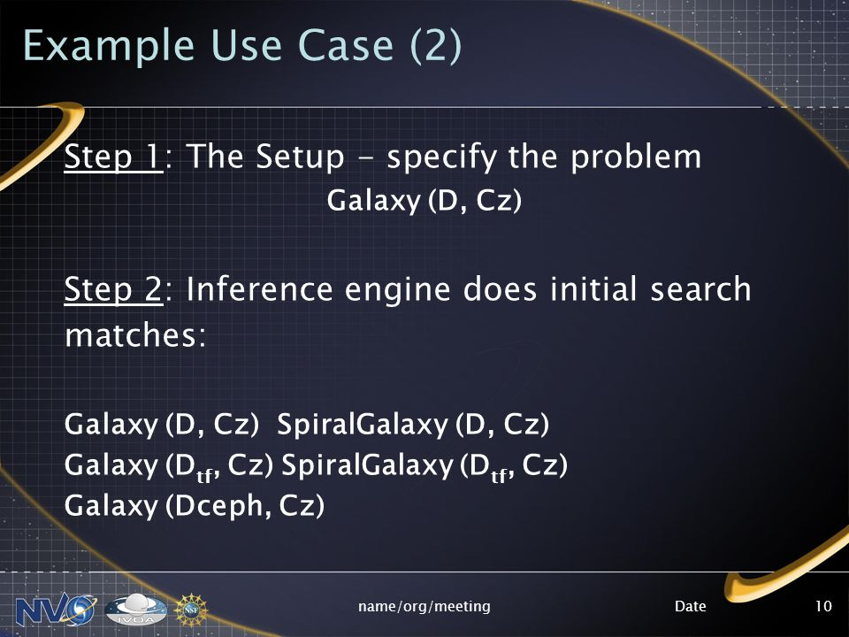 Datename/org/meeting10 Example Use Case (2) Step 1: The Setup - specify the problem Galaxy (D, Cz) Step 2: Inference engine does initial search matche