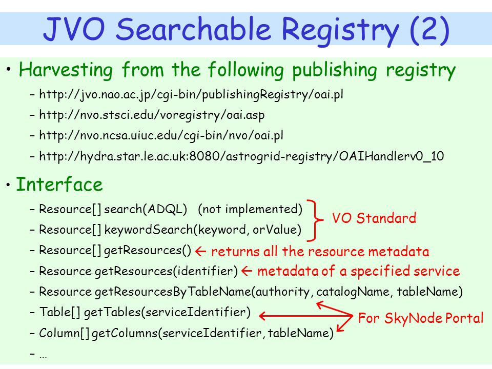 JVO Searchable Registry (2) Harvesting from the following publishing registry – http://jvo.nao.ac.jp/cgi-bin/publishingRegistry/oai.pl – http://nvo.st