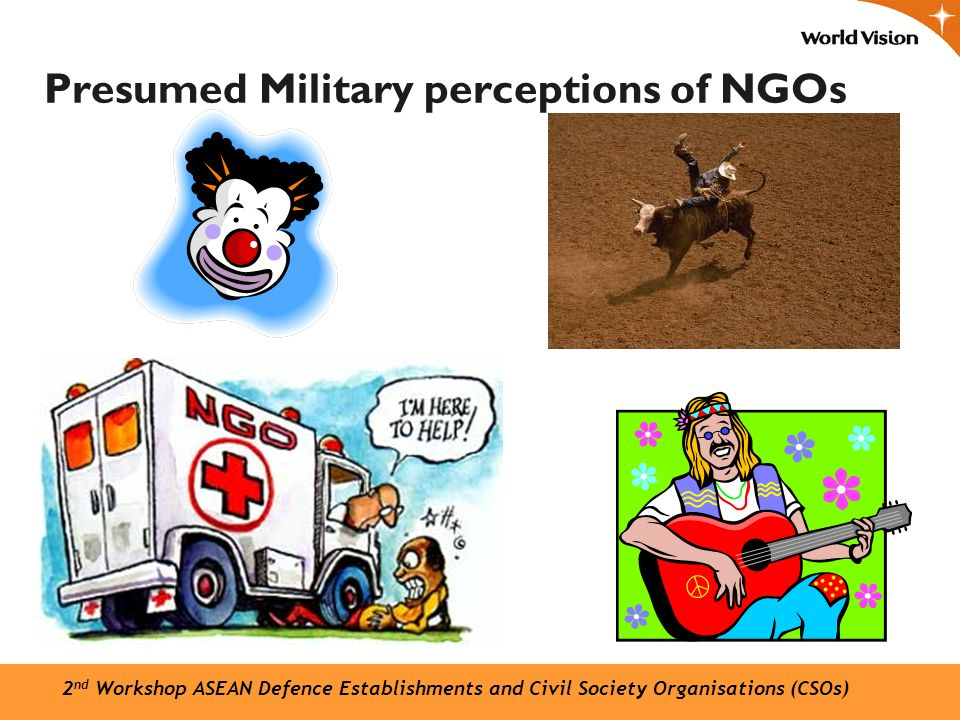 Presumed Military perceptions of NGOs 2 nd Workshop ASEAN Defence Establishments and Civil Society Organisations (CSOs)