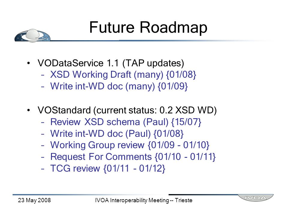 23 May 2008IVOA Interoperability Meeting -- Trieste Future Roadmap VODataService 1.1 (TAP updates) –XSD Working Draft (many) {01/08} –Write int-WD doc (many) {01/09} VOStandard (current status: 0.2 XSD WD) –Review XSD schema (Paul) {15/07} –Write int-WD doc (Paul) {01/08} –Working Group review {01/09 - 01/10} –Request For Comments {01/10 - 01/11} –TCG review {01/11 - 01/12}