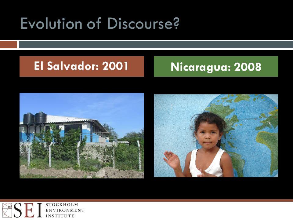Evolution of Discourse El Salvador: 2001 Nicaragua: 2008
