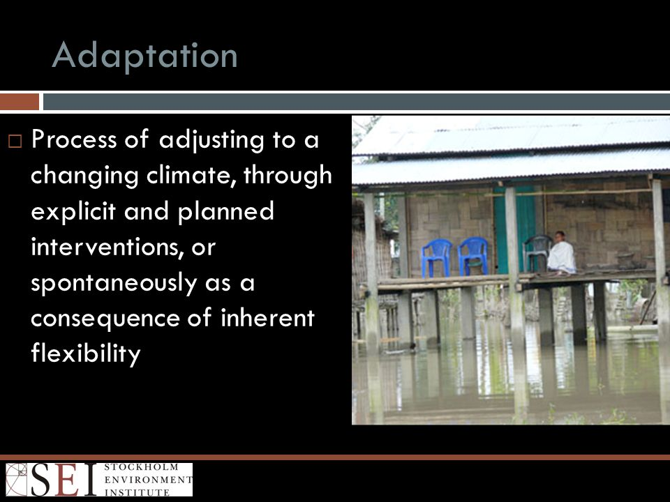 Adaptation Process of adjusting to a changing climate, through explicit and planned interventions, or spontaneously as a consequence of inherent flexi