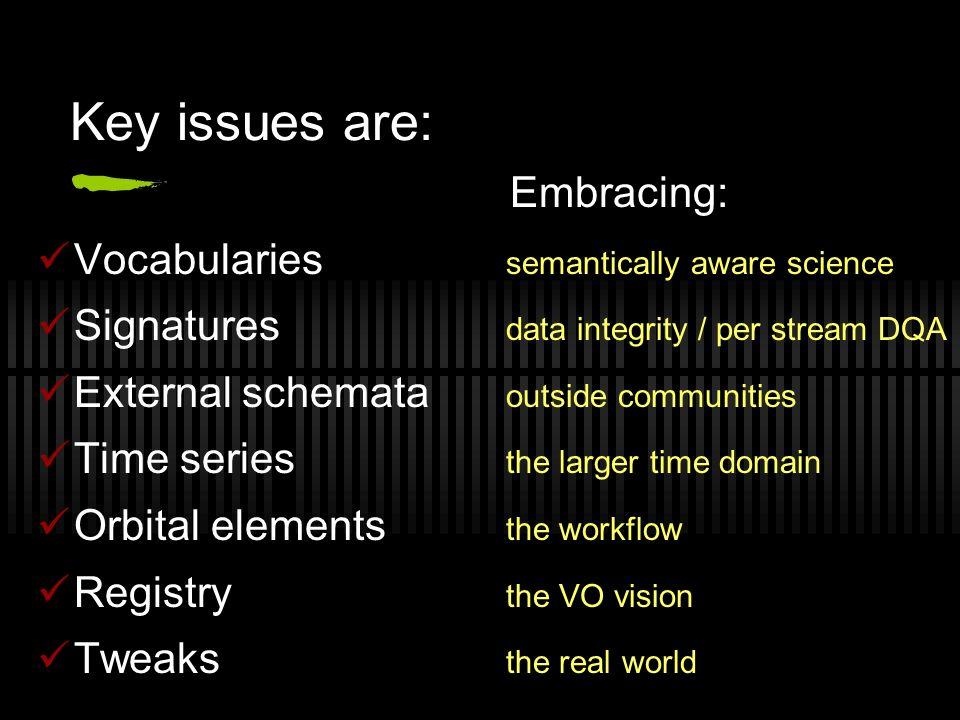 Key issues are: Embracing: Vocabularies semantically aware science Signatures data integrity / per stream DQA External schemata outside communities Time series the larger time domain Orbital elements the workflow Registry the VO vision Tweaks the real world